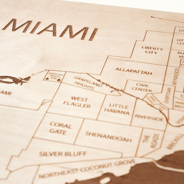 Miami Custom Map Gift - Etched Atlas