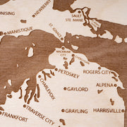Michigan Engraved Wood Map - Etched Atlas
