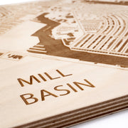 Mill Basin Engraved Wood Map - Etched Atlas