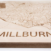 Millburn Engraved Wood Map - Etched Atlas