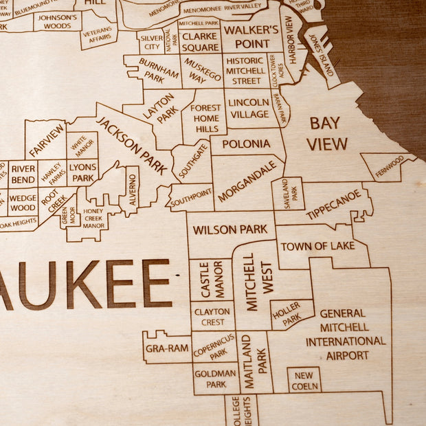Milwaukee Engraved Wood Map - Etched Atlas