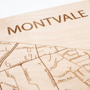 Montvale Engraved Wood Map - Etched Atlas