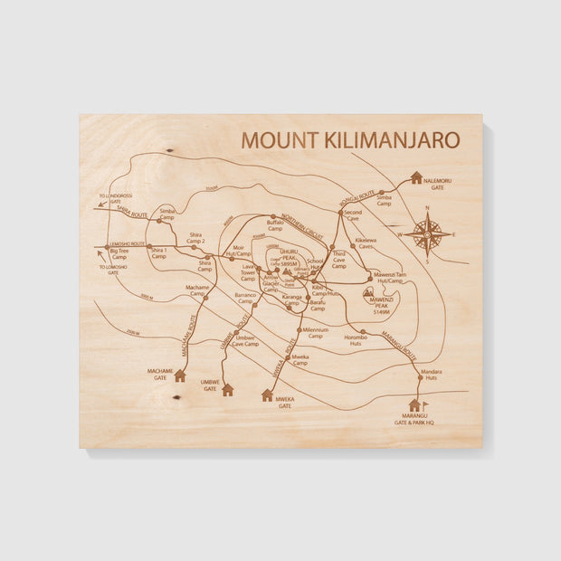 Mt Kilimanjaro Map Wall Art - Etched Atlas