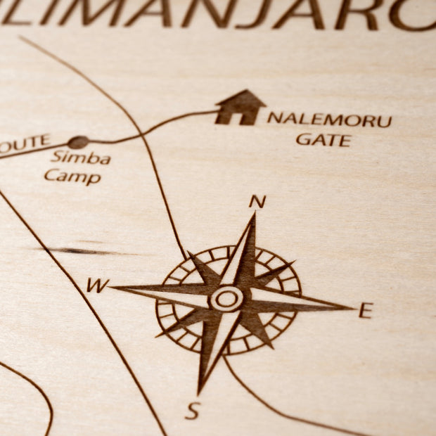 Mt Kilimanjaro Closing Housewarming Gift - Etched Atlas