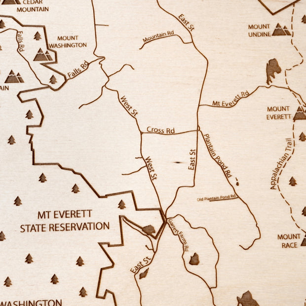 Mount Washington Engraved Wood Map - Etched Atlas