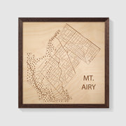Mt. Airy Map - 12x12-Framed- Etched Atlas