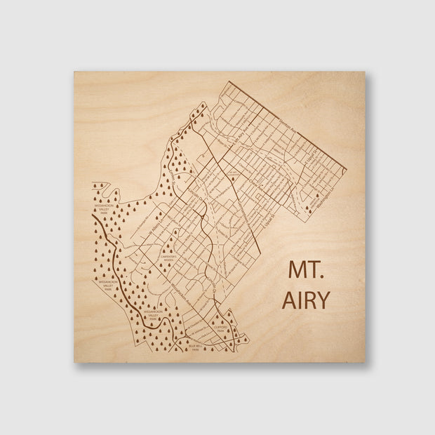 Mt. Airy Map - 12x12-Unframed- Etched Atlas