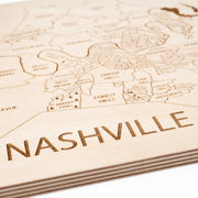Nashville Engraved Wood Map - Etched Atlas