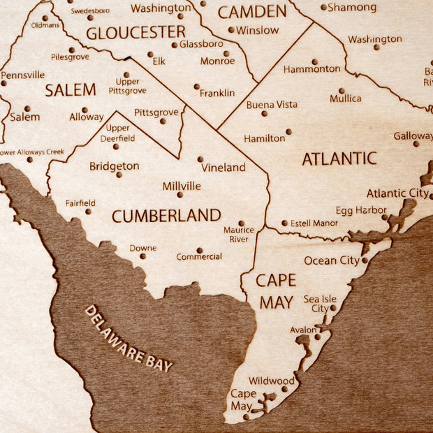 New Jersey Engraved Wood Map - Etched Atlas