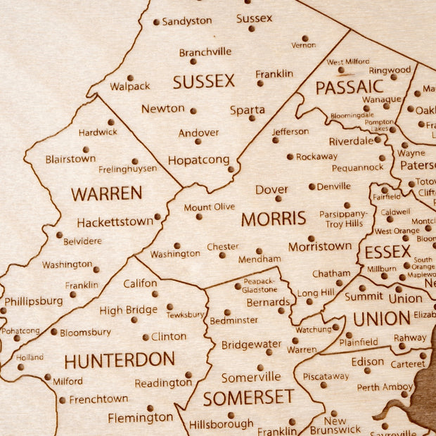 New Jersey Custom Map Gift - Etched Atlas