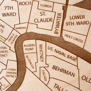 New Orleans Engraved Wood Map - Etched Atlas