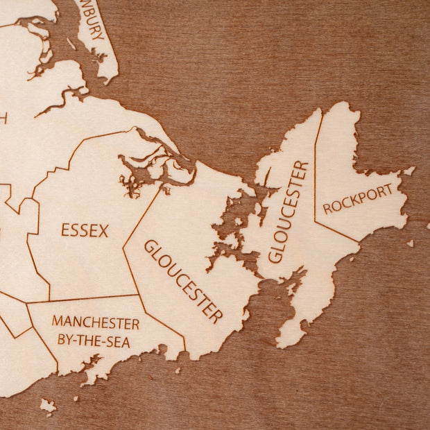 The North Shore Engraved Wood Map - Etched Atlas