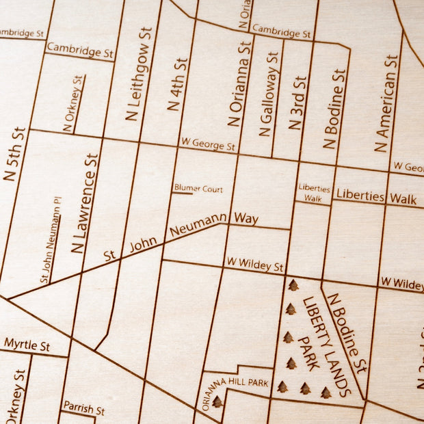 Northern Liberties Engraved Wood Map - Etched Atlas