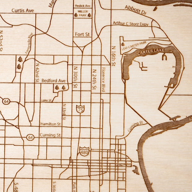 Omaha Engraved Wood Map - Etched Atlas