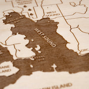 Orcas Island Engraved Wood Map - Etched Atlas