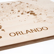 Orlando Engraved Wood Map - Etched Atlas