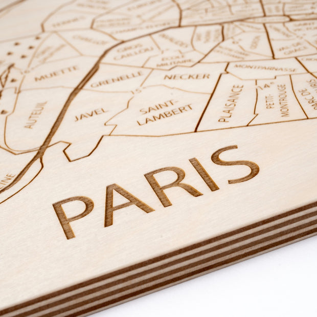 Paris Engraved Wood Map - Etched Atlas