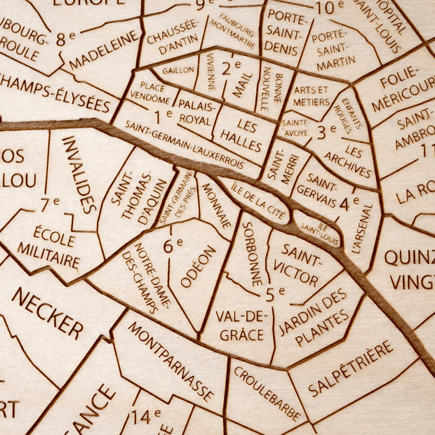 Paris Custom Map Gift - Etched Atlas