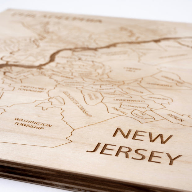 Philadelphia - NJ Engraved Wood Map - Etched Atlas