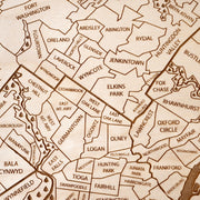 Philadelphia Area Custom Map Gift - Etched Atlas