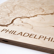 Philadelphia Area Engraved Wood Map - Etched Atlas