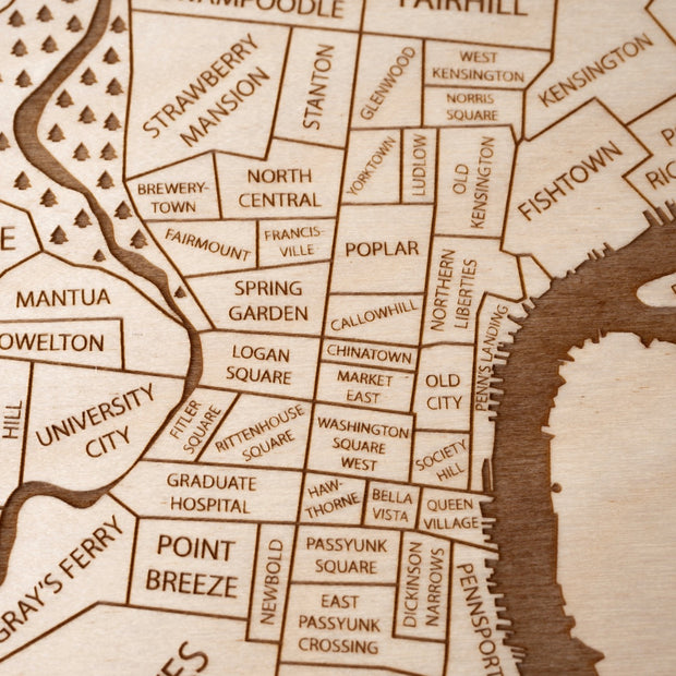 Philadelphia Engraved Wood Map - Etched Atlas