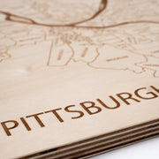 Pittsburgh Engraved Wood Map - Etched Atlas