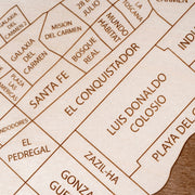Playa del Carmen Engraved Wood Map - Etched Atlas