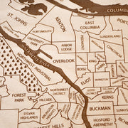Portland Engraved Wood Map - Etched Atlas