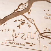 Quad Cities Engraved Wood Map - Etched Atlas