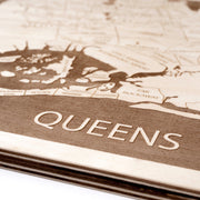 Queens Engraved Wood Map - Etched Atlas