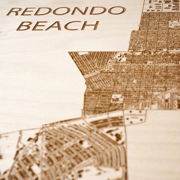 Redondo Beach Engraved Wood Map - Etched Atlas