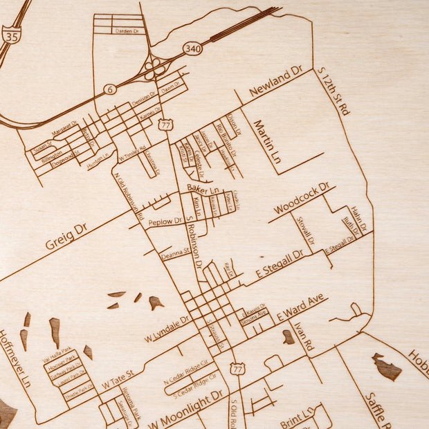 Robinson Engraved Wood Map - Etched Atlas