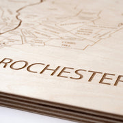 Rochester Engraved Wood Map - Etched Atlas