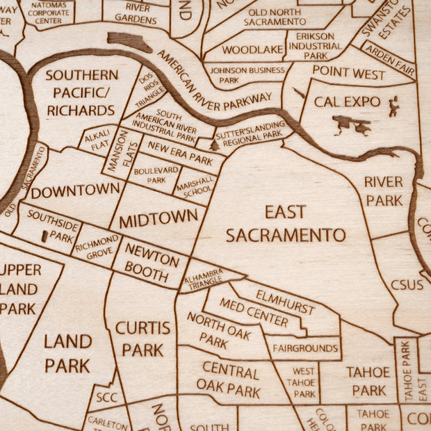 Sacramento Engraved Wood Map - Etched Atlas