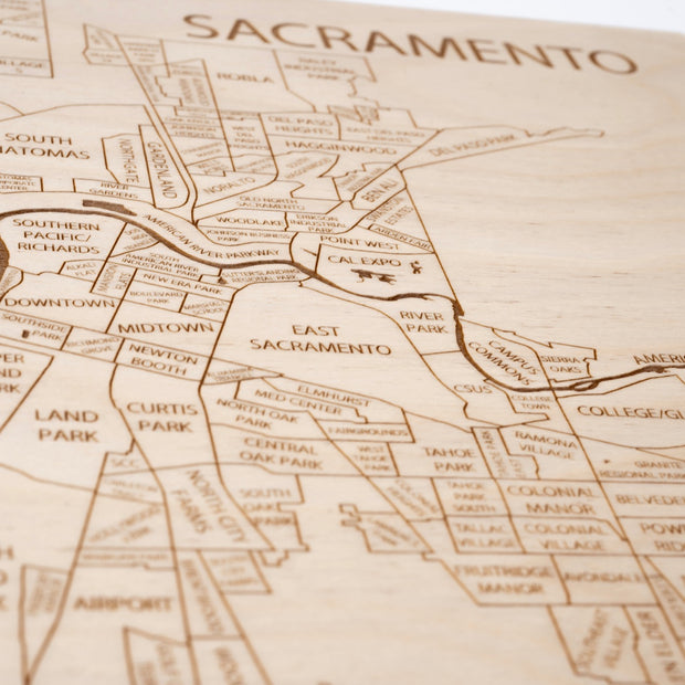 Sacramento Custom Map Gift - Etched Atlas