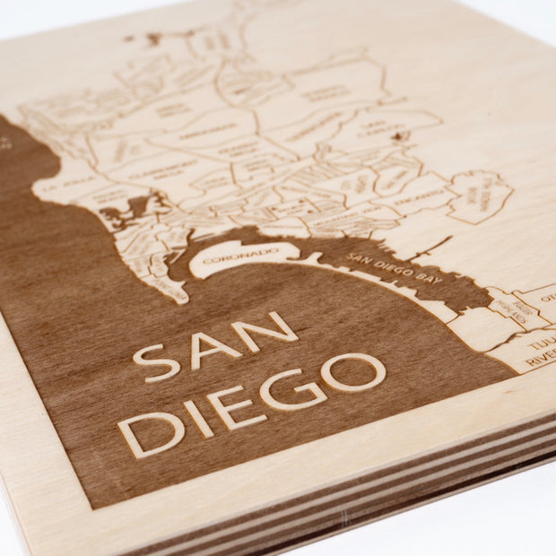 San Diego Engraved Wood Map - Etched Atlas