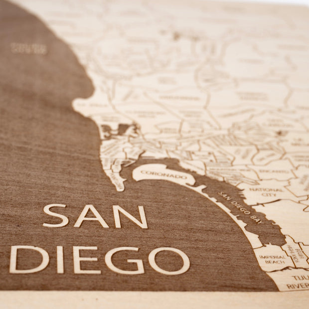 San Diego Area Engraved Wood Map - Etched Atlas
