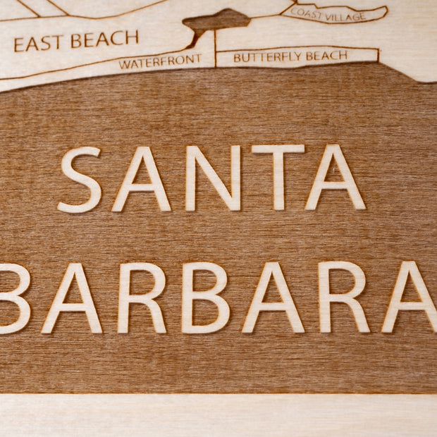 Santa Barbara Area Engraved Wood Map - Etched Atlas