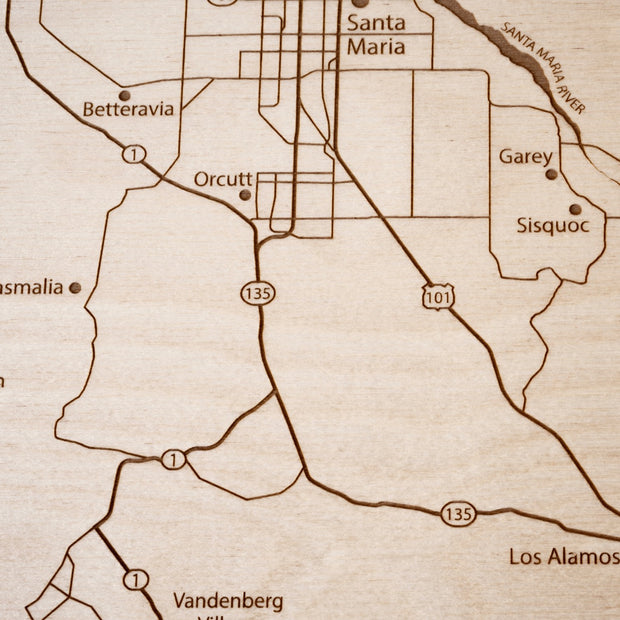 Santa Ynez Valley Engraved Wood Map - Etched Atlas