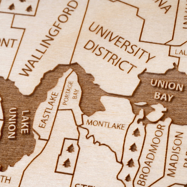Seattle Engraved Wood Map - Etched Atlas