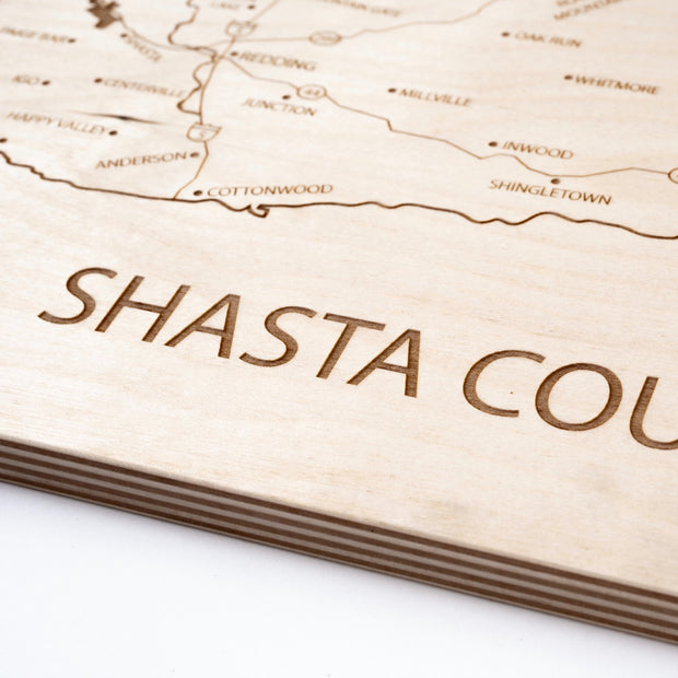 Shasta County Engraved Wood Map - Etched Atlas