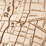 South Orange Engraved Wood Map - Etched Atlas