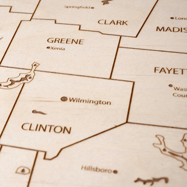 Southwest Ohio Custom Map Gift - Etched Atlas