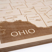 Southwest Ohio Engraved Wood Map - Etched Atlas