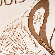 St. Louis Engraved Wood Map - Etched Atlas