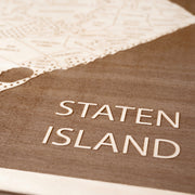 Staten Island Engraved Wood Map - Etched Atlas