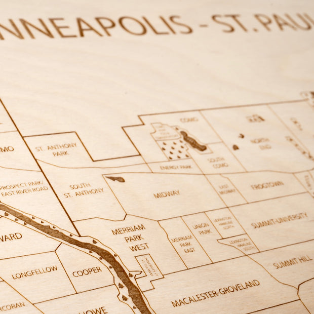 Twin Cities Custom Map Gift - Etched Atlas