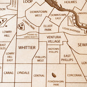Twin Cities Engraved Wood Map - Etched Atlas