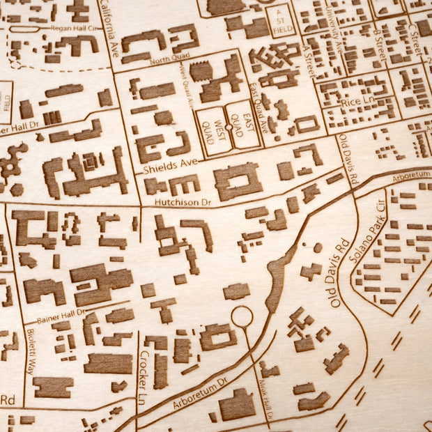 UC Davis Engraved Wood Map - Etched Atlas